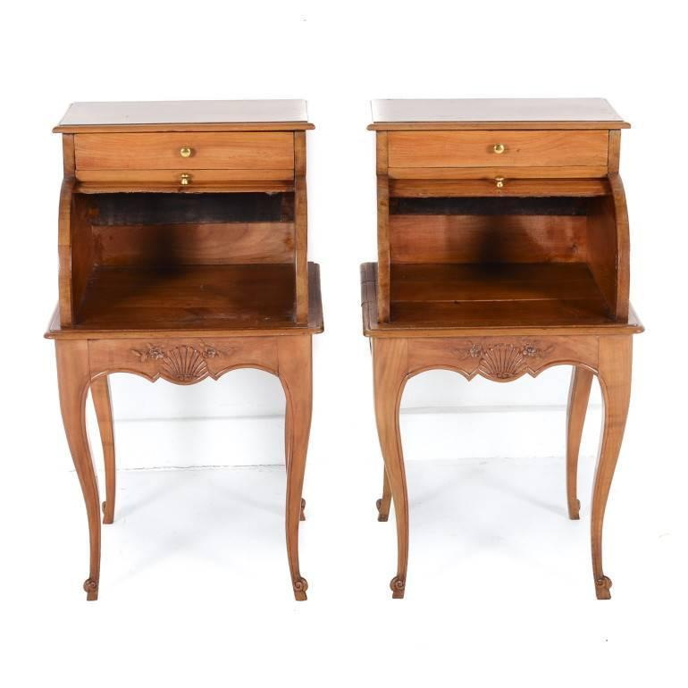 pair of unique cherry night stands with tambour fronts c