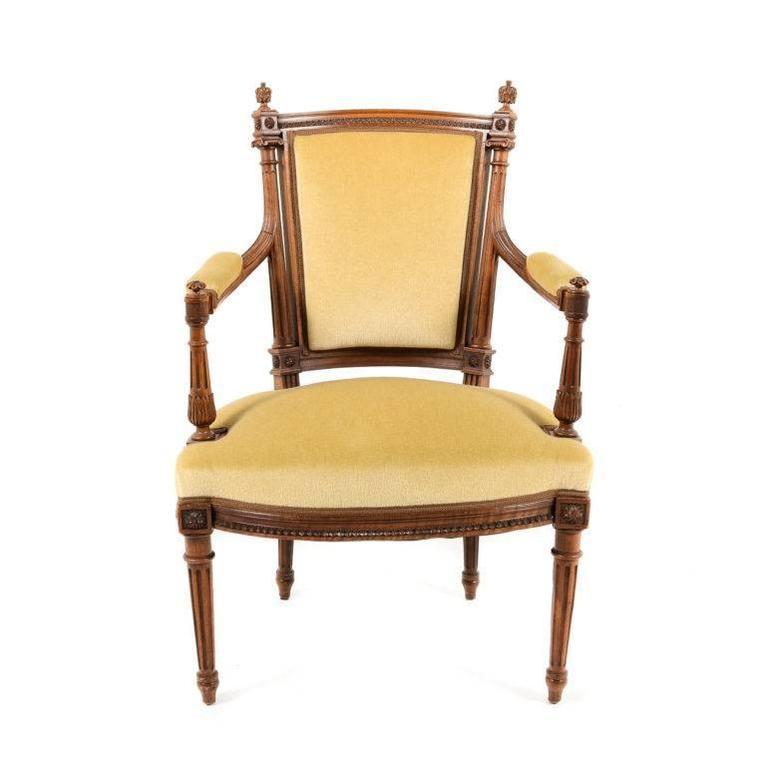 Old Armchairs Antique Pair Of Walnut Louis Xvi Revival