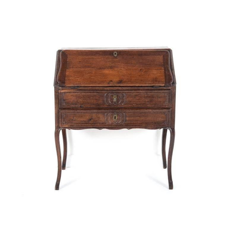 Antique French Oak 19th Century Drop Front Desk Circa 1880 A Charming