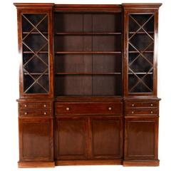English Mahogany Breakfront Bookcase with Fitted Secretaire, circa 1920