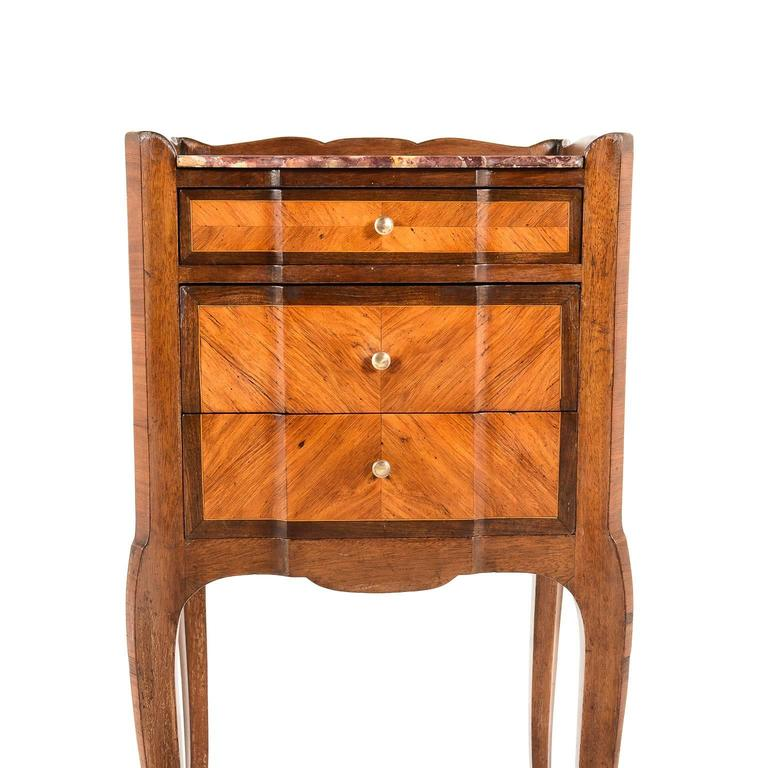 Antique Inlaid Kingwood Marble Top Nightstand Circa 1900 At 1stdibs