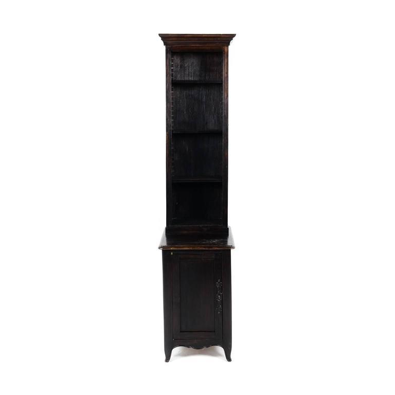 Antique French Unusually Narrow Dark Oak Bookcase, Circa 1920
