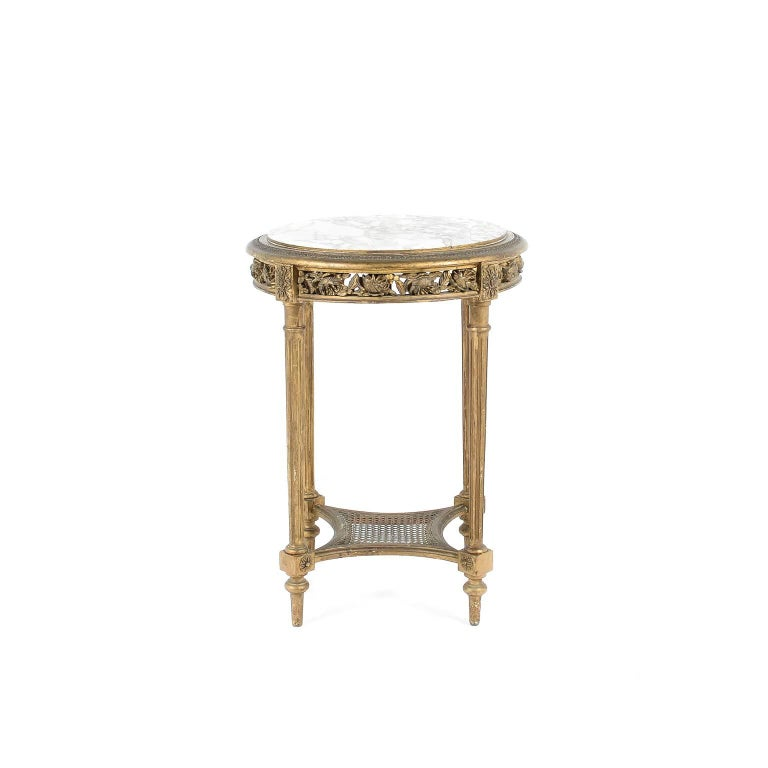 Antique early 20th century small giltwood marble top side for Small gold side table