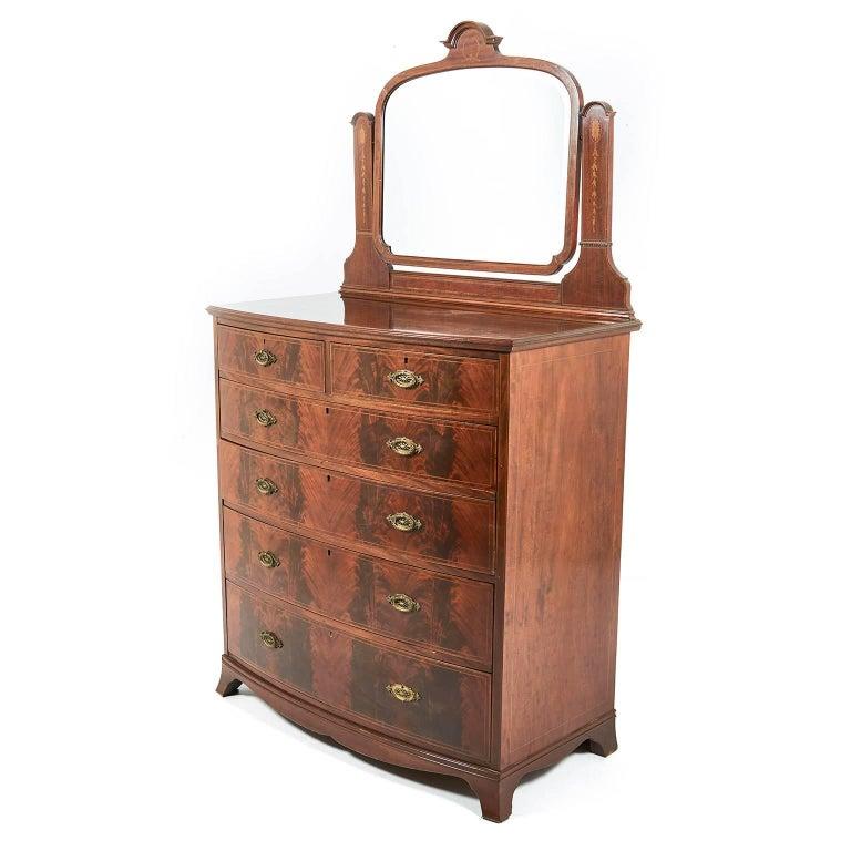 Antique English Inlaid Mahogany Bow Front Dresser At 1stdibs
