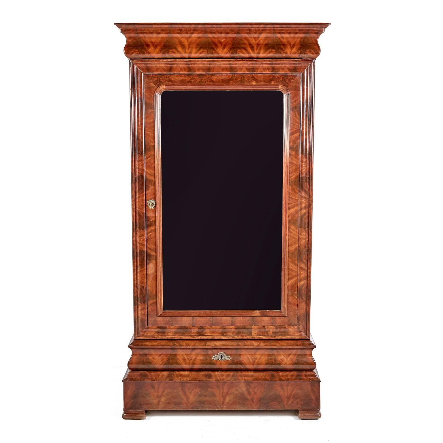 Antique French Louis Phillippe Flame Mahogany Armoire, Circa 1840