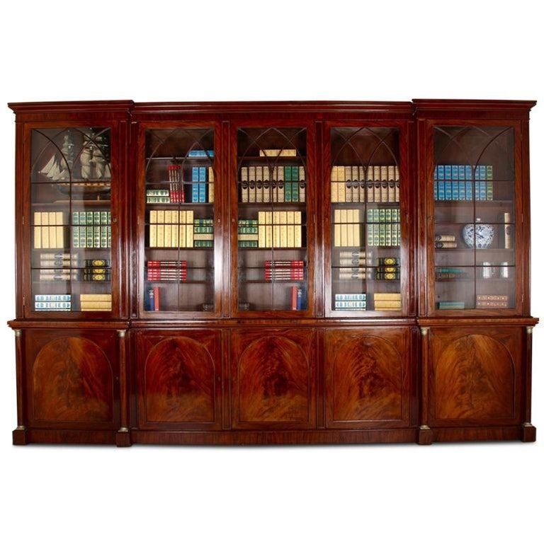 Superb English Flame Mahogany Library Bookcase