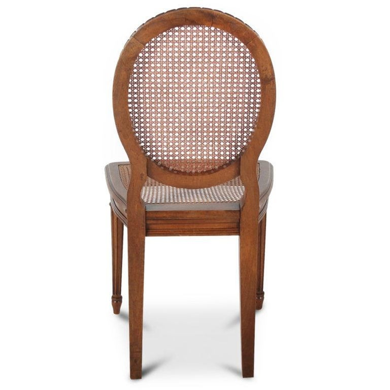 French Set of Six Louis XVI-Style Cane Dining Chairs For Sale