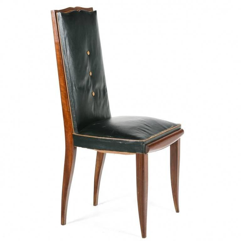 In a whimsical design of moustache and black tie, these fabulous leather chairs are in the manner of Jules Leleu. They are in original condition awaiting recovering, refinishing and re-gluing. C.1930