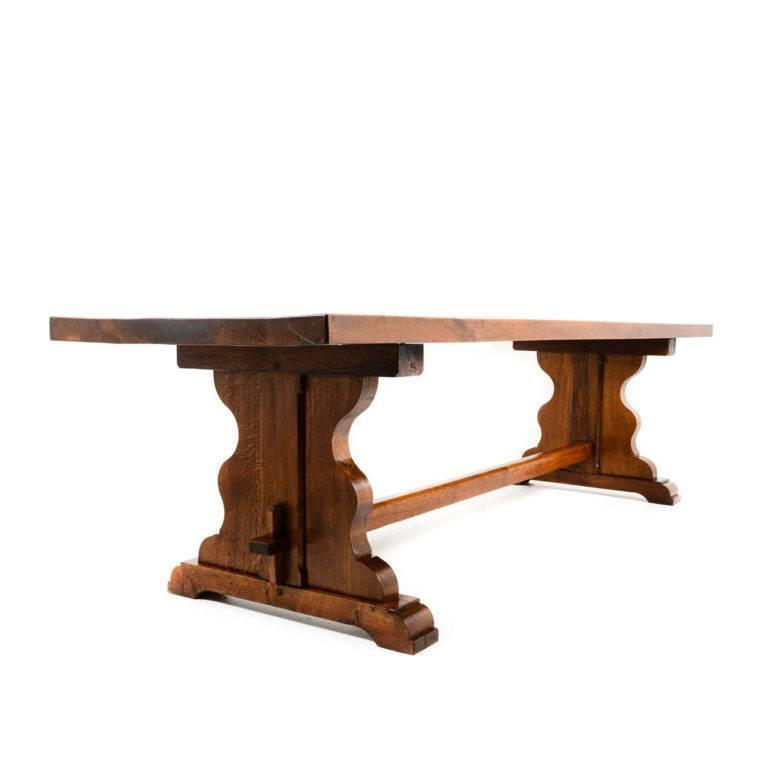 monumental sized solid oak french trestle table at 1stdibs
