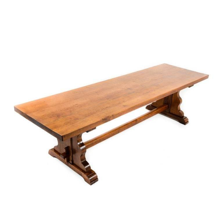 Rare Extra Long Solid Oak Trestle Table At 1stdibs