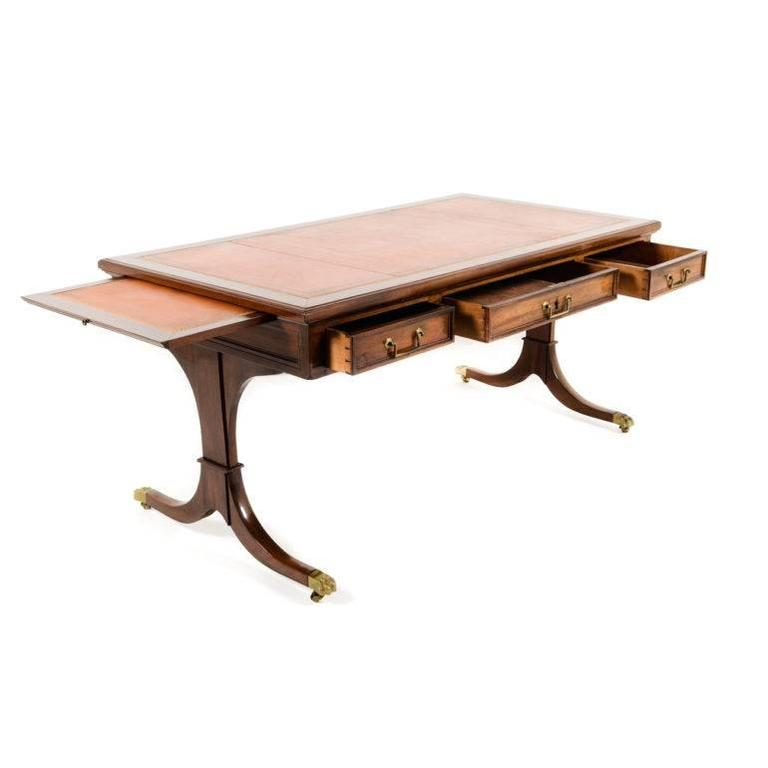 Antique Leather Top Library Table At 1stdibs