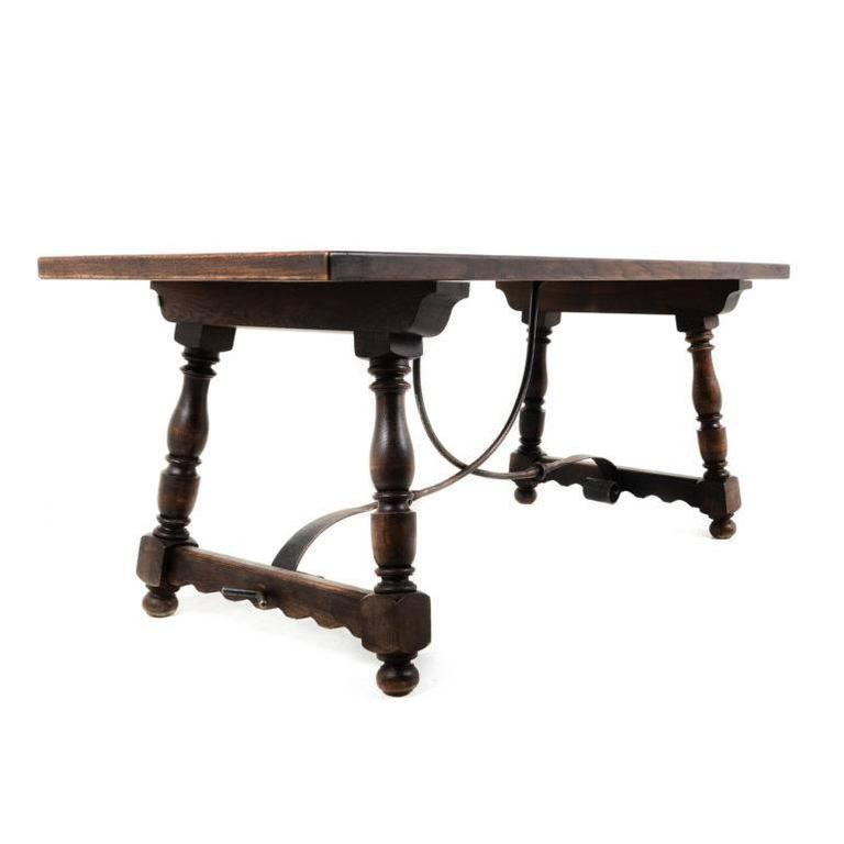 20th century vintage dark oak trestle table with iron base for sale at
