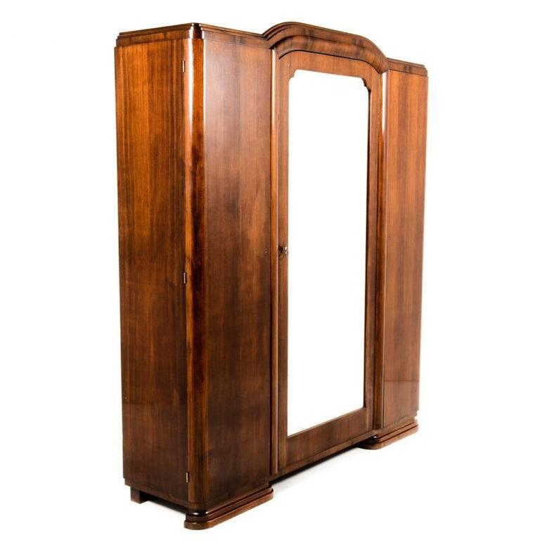 antique french art deco three door armoire circa 1930 at. Black Bedroom Furniture Sets. Home Design Ideas