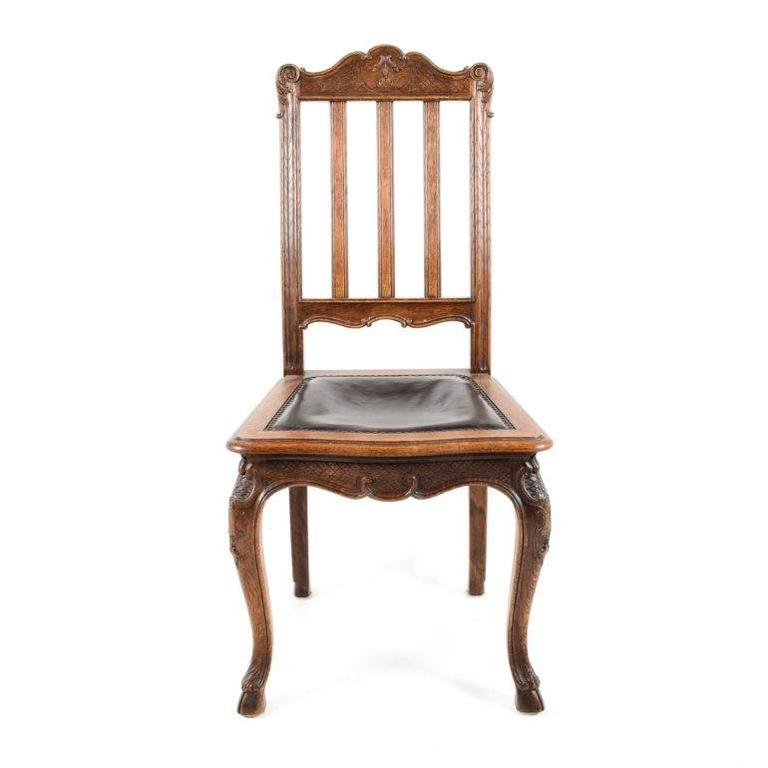 Antique Belgian Solid Oak Louis XVStyle Dining Chairs circa 1890 – Oak Dining Chair