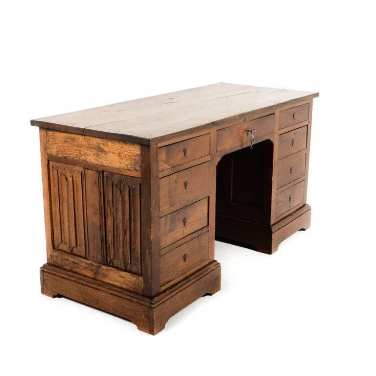 solid oak desk converted from gothic coffer at 1stdibs