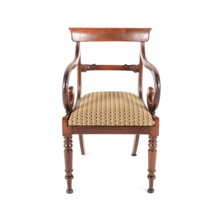 Pair Of English Regency Style Dining Armchairs Only Circa
