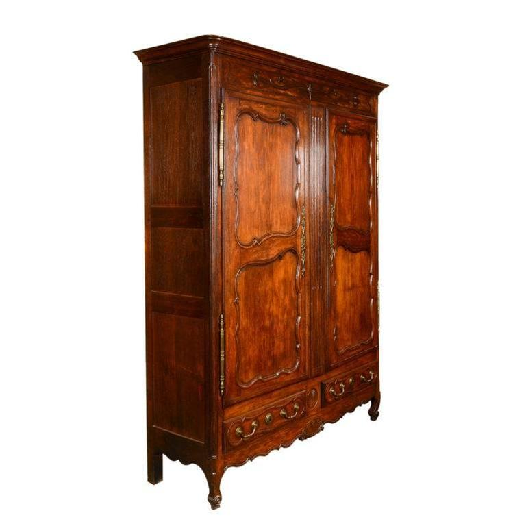 Hand Carved Antique French Armoire, Circa 1860 For Sale
