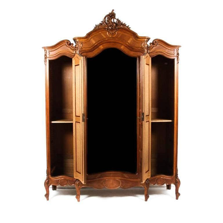 Antique three door louis xv style armoire at 1stdibs for Triple french doors for sale