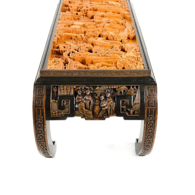 Vintage Highly Carved Asian Coffee Table At 1stdibs