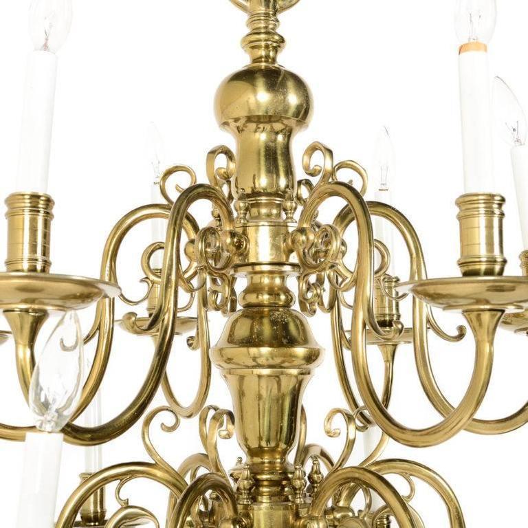 Chandelier Lighting Vancouver Bc: Large Dutch Solid Brass Twelve-Arm Chandelier At 1stdibs