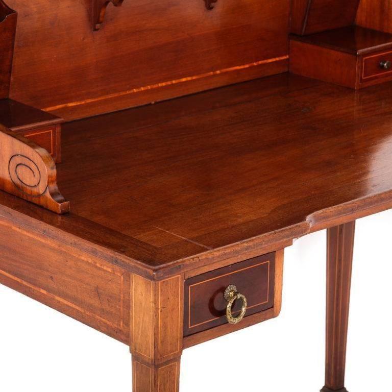 Inlay Antique French Gany Sheraton Style Writing Desk Circa 1910 For