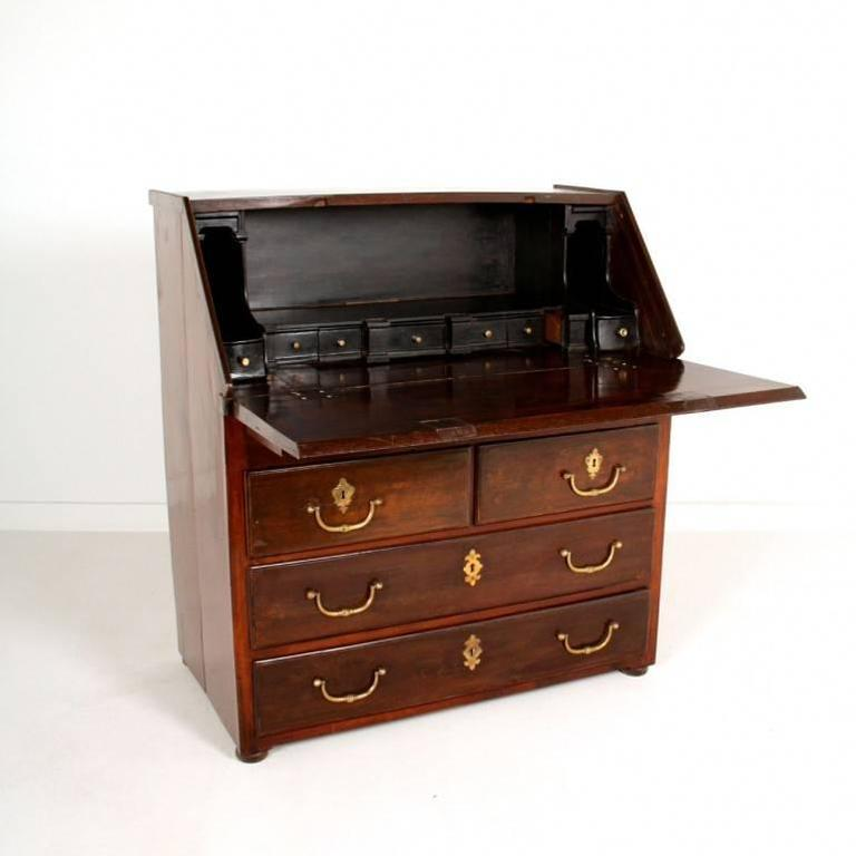 Beautiful Antique French Walnut Drop Front Desk With An Unusual Ebonized Interior