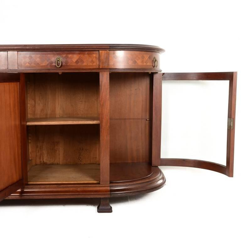 French Mahogany Buffet With Curved Glass Side Doors Circa 1910 At