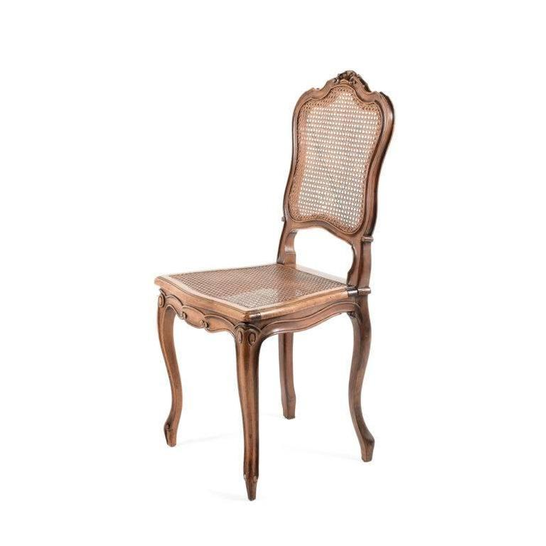 Four French Louis Xv Style Cane Walnut Dining Chairs At