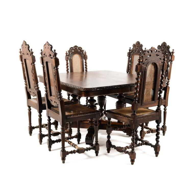Antique French Solid Oak Square Henri II Dining Table