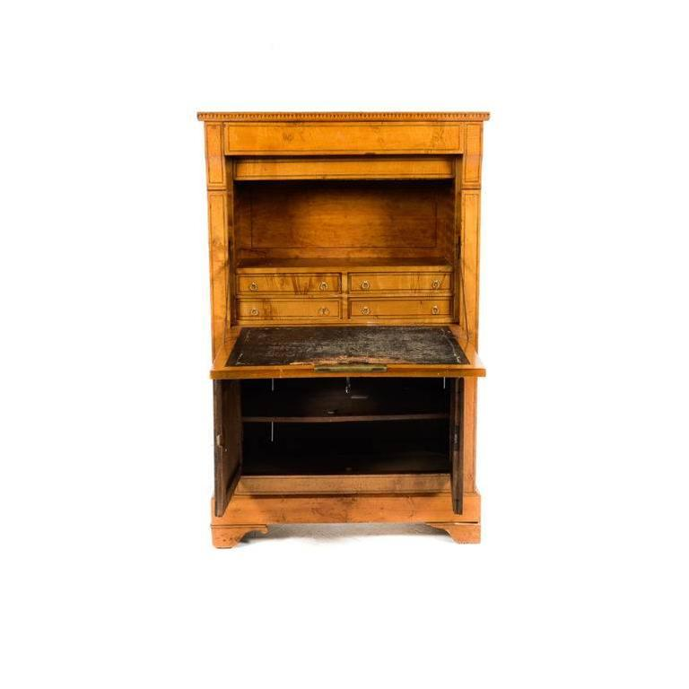 Antique French Fruitwood Secretary 19th Century For Sale