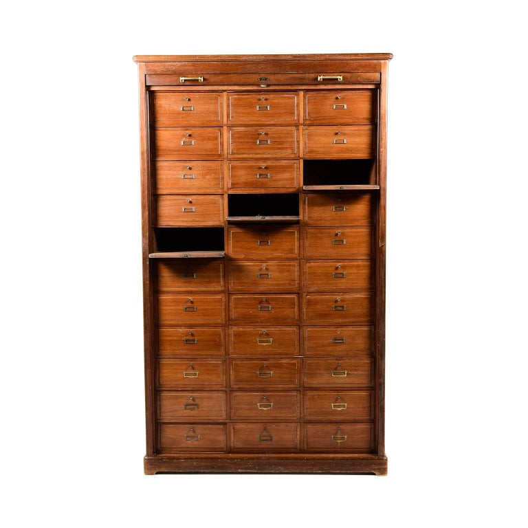 Antique French Tambour Front Filing Cabinet, circa 1910 In Excellent  Condition For Sale In Vancouver - Antique French Tambour Front Filing Cabinet, Circa 1910 At 1stdibs