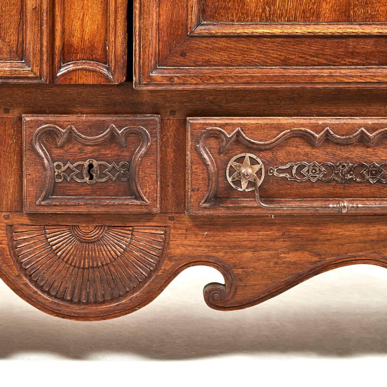 Antique French Country Carved Oak Two Door Armoire Circa 1850 At