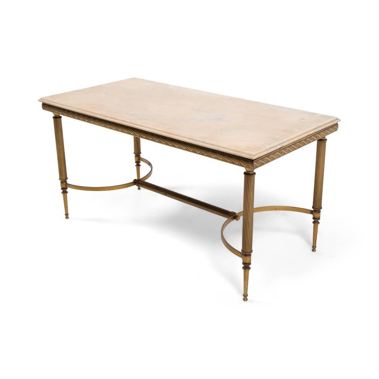 Mid Century French Brass And Onyx Coffee Table At 1stdibs