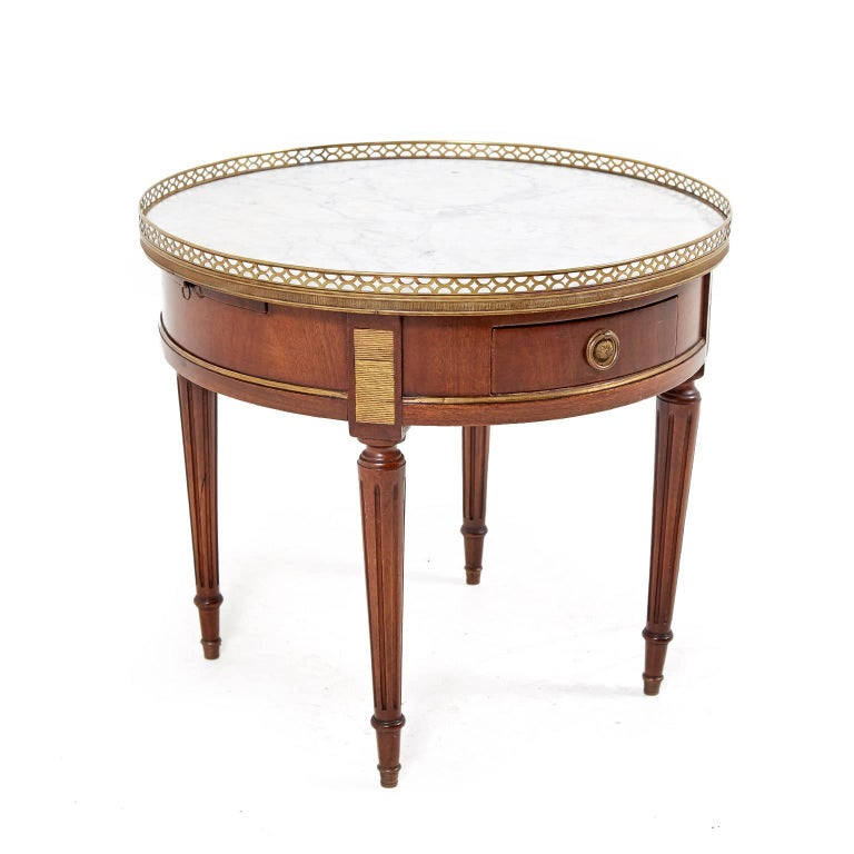 Marble Topped Gilt Coffee Table C 1920: Small French Marble Top Louis XVI Style Coffee Table