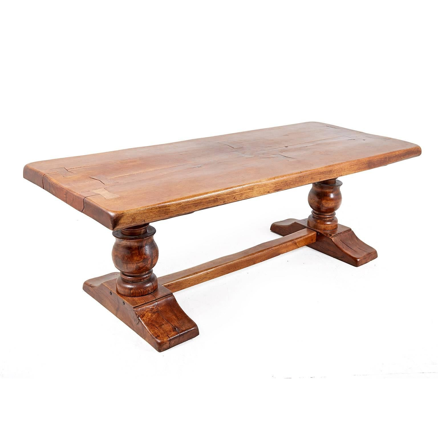Large French Solid Oak Trestle Table, Circa 1900 2