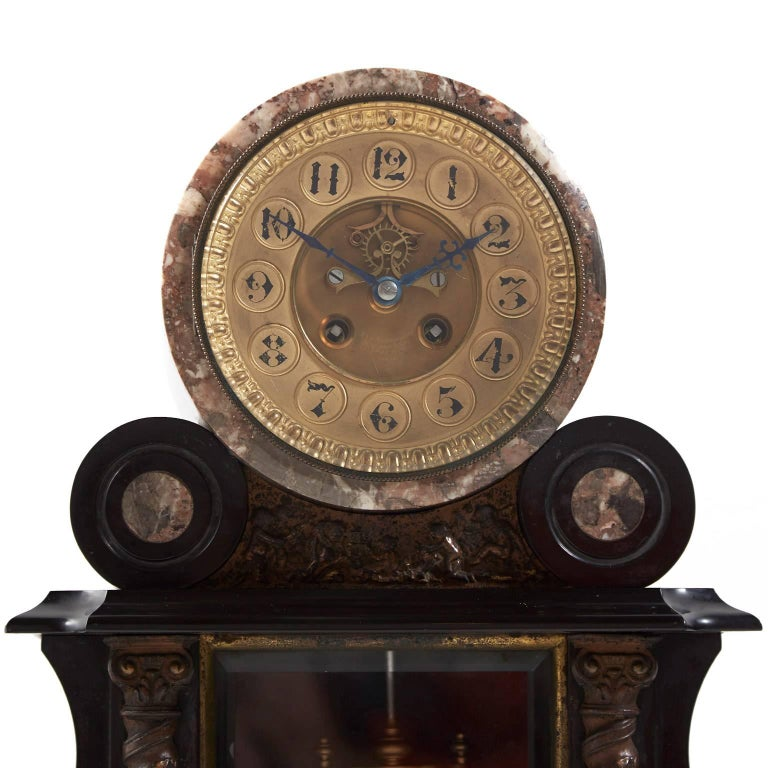 19th Century Large Antique French Marble and Bronze Mantle Clock, circa 1880 For Sale