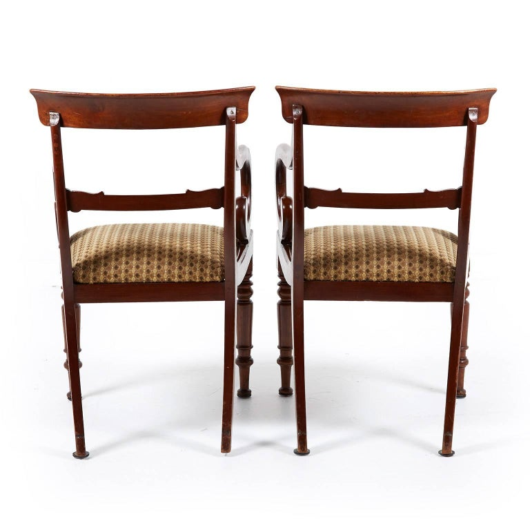 Pair Of Antique English Regency Mahogany Armchairs For