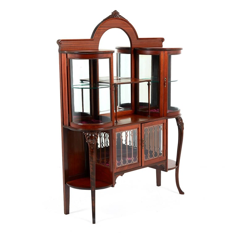 Carved Antique American Victorian China Cabinet With Curved Gl Display Circa 1890 For
