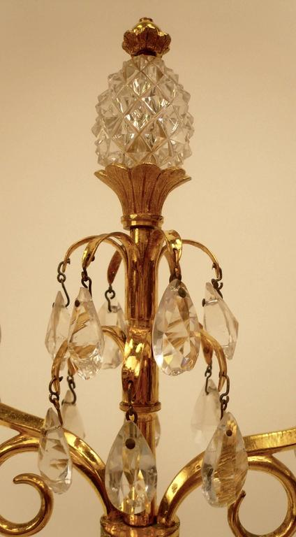 18th Century Pair of Gilt Bronze and Cut Crystal Candelabra, Attributed to William Parker For Sale