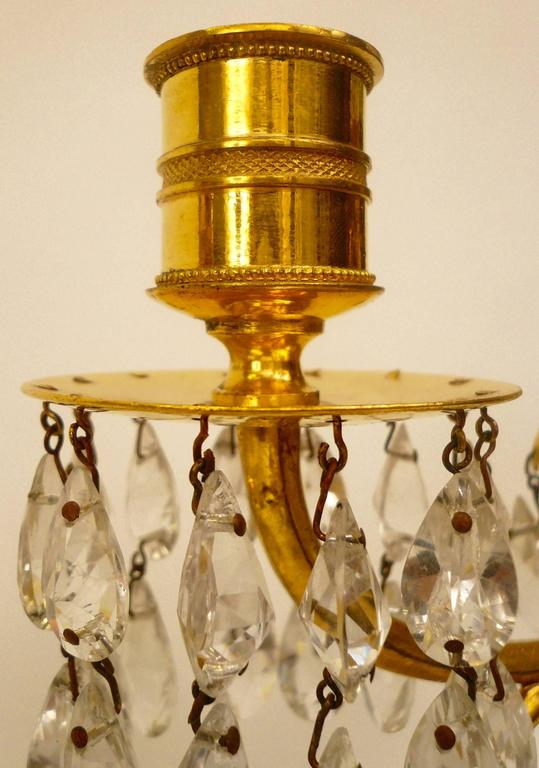 Faceted Pair of Gilt Bronze and Cut Crystal Candelabra, Attributed to William Parker For Sale