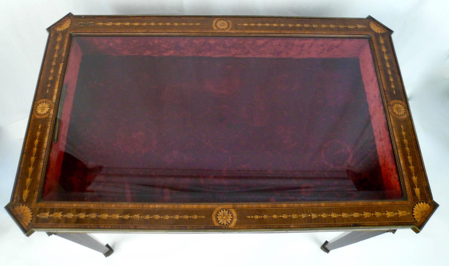Bronze mounted and marquetry adam style vitrine table at for Table vitrine