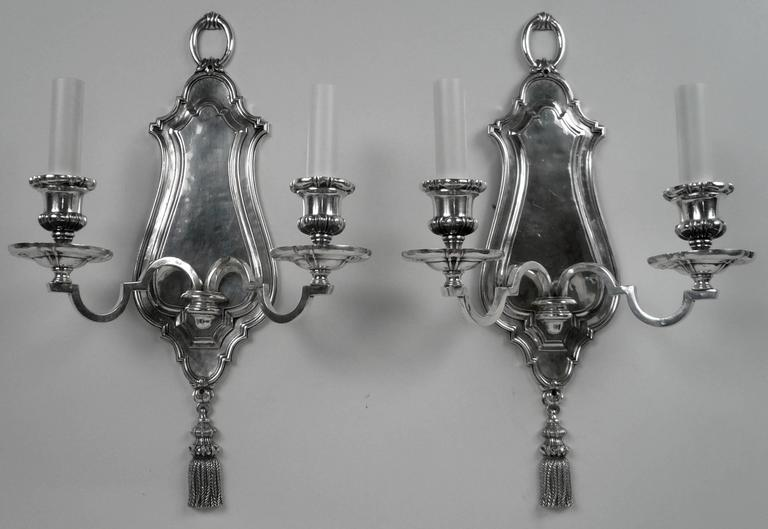 George II Pair of Early Georgian Style Two-Light Sconces by E. F. Caldwell For Sale