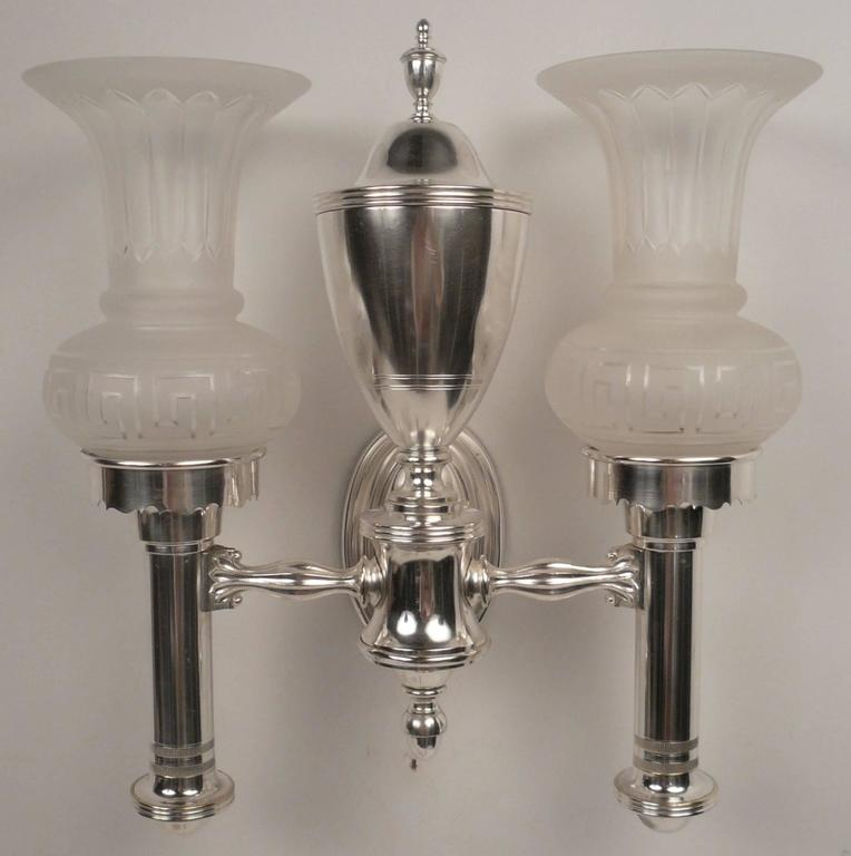 Set of Four Argand Style Two-Light Sconces 3