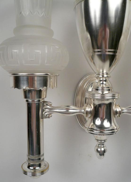Set of Four Argand Style Two-Light Sconces 4