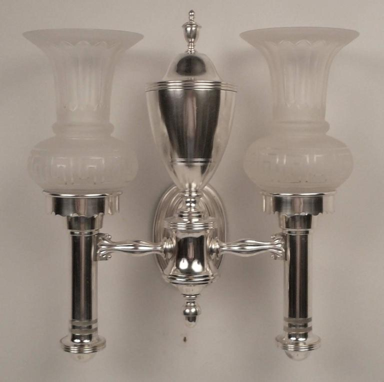 Set of Four Argand Style Two-Light Sconces 8