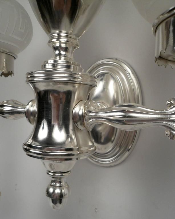 Set of Four Argand Style Two-Light Sconces 10
