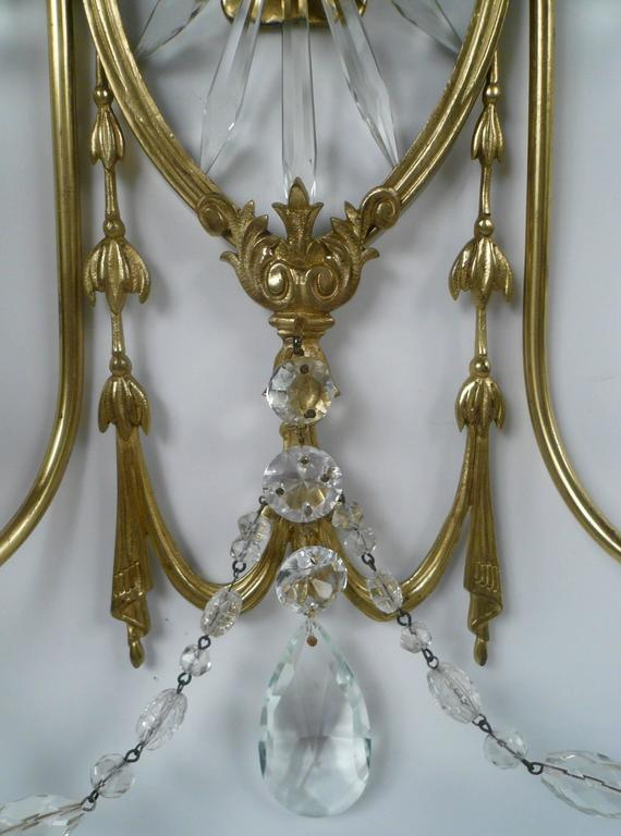 American Pair of E. F. Caldwell Cut Crystal and Brass Two-Light Sconces For Sale