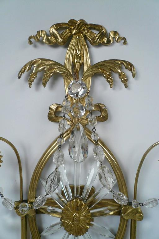 Pair of E. F. Caldwell Cut Crystal and Brass Two-Light Sconces In Excellent Condition For Sale In Pittsburgh, PA