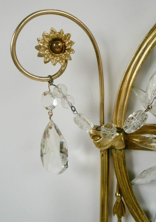 Pair of E. F. Caldwell Cut Crystal and Brass Two-Light Sconces For Sale 1