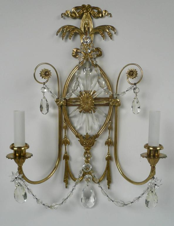 Pair of E. F. Caldwell Cut Crystal and Brass Two-Light Sconces For Sale 2
